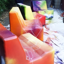 art - transporting graffiti seats