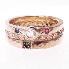 trio of family gems rings
