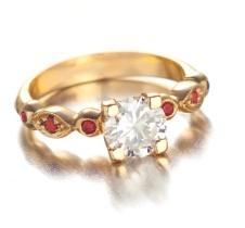 diamond/orange sapphire ring