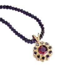 Mozambique garnet/black diamond/spinel/18KY
