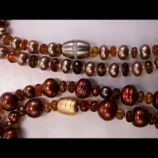 Baroque pearl/tourmaline bracelets