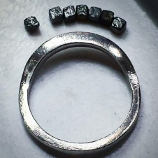 platinum/raw diamond cube ring