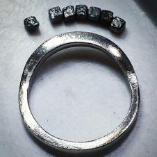 platinum/raw diamond cube ring