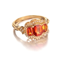 orange sapphire/diamond ring