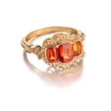 orange sapphire/diamond ring