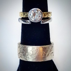 wedding sets in platinum/18KY with diamond