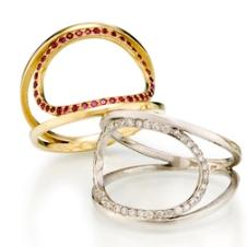 'O' rings in 18KY w ruby, 18KW w diamond
