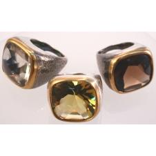 18KY bezel w oxidized sterling GEM rings