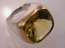 18KY w oxidized sterling & mint amethyst ring