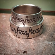 18KW wedding bands w custom engraving