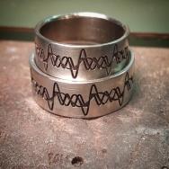 18KW wedding bands w custom engraving
