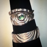 tourmaline/platinum ring w raw diamond cubes