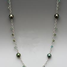 platinum/Tahitian pearl/tourmaline